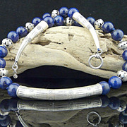 Natural Lapis and Karen Hill Tribe Fine Silver Necklace Collar