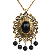 Celebrity Gems Black and Gold Victorian Style Necklace