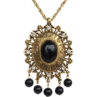 SALE Celebrity Gems Black and Gold Victorian Style Necklace
