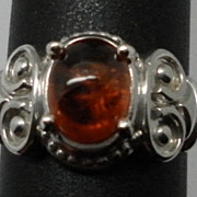 Vintage Natural Spessartite Garnet Sterling Silver Ring; FREE SIZING