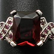 Vintage 14kt  Rhodolite & Ruby Ring; FREE SIZING