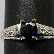 Vintage Blue Sapphire & Diamonds Ring; FREE SIZING