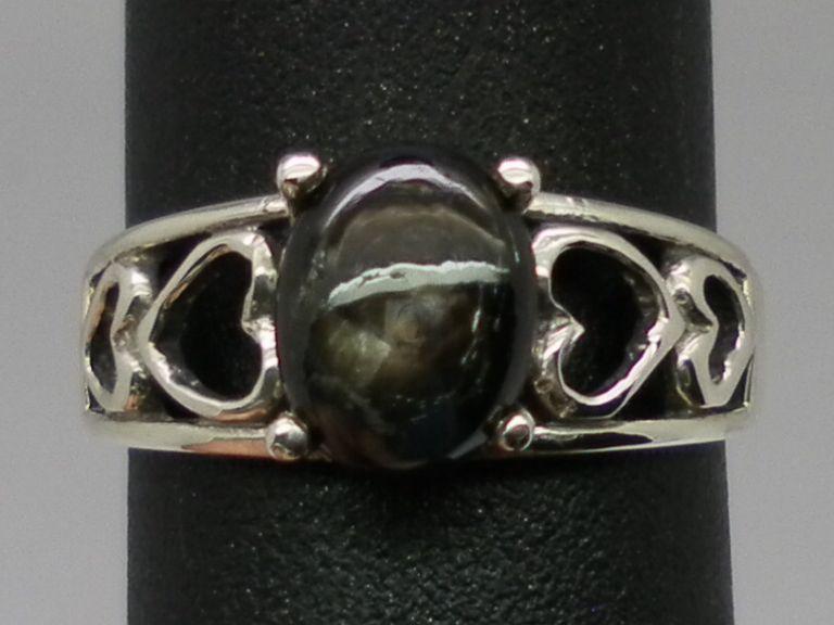 Vintage Black Star Sapphire Silver  Ring; FREE SIZING