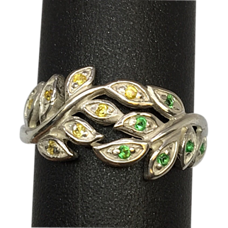 SALE Vintage Tsavorite and Sapphire 14k Ring