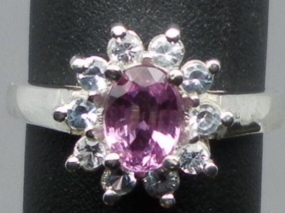 Vintage 14kt Pink Sapphire & Blue Topaz Ring; FREE SIZING.