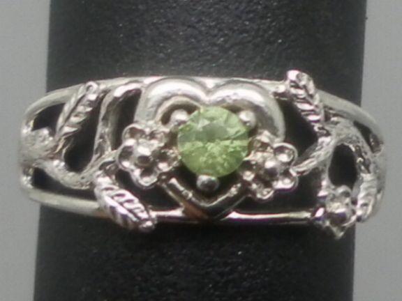 Vintage 14kt Demantoid Garnet Ring; FREE SIZING.