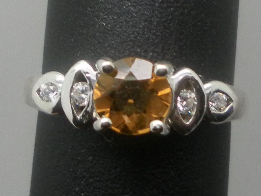 Vintage 14kt Citrine & Diamonds, Ring; FREE SIZING.