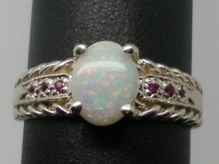 Vintage 14kt Australian Opal & Ruby Ring; FREE SIZING.