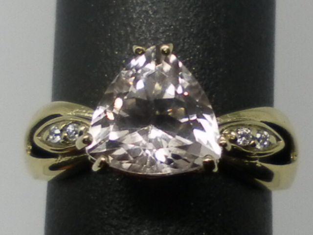 Vintage 14kt Morganite & Diamonds Ring; FREE RE-SIZE.