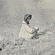 NATIVE AMERICAN SEMINOLE  WITH CANOE POST CARD