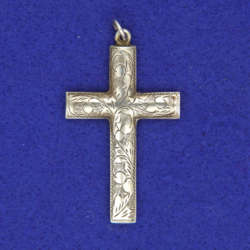 Victorian Sterling Silver Engraved Cross Pendant