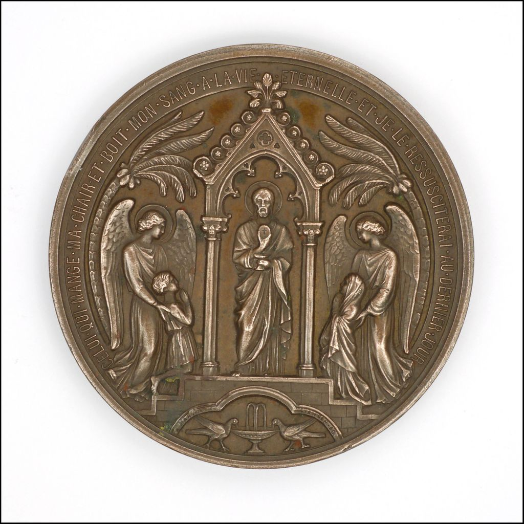 French 1873 Large Copper First Communion Medal Saint Esprit Angels