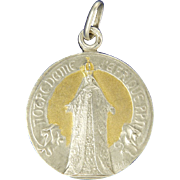 French Silver Gilt 'Our Lady of Africa' Medal Pendant - signed A Salés