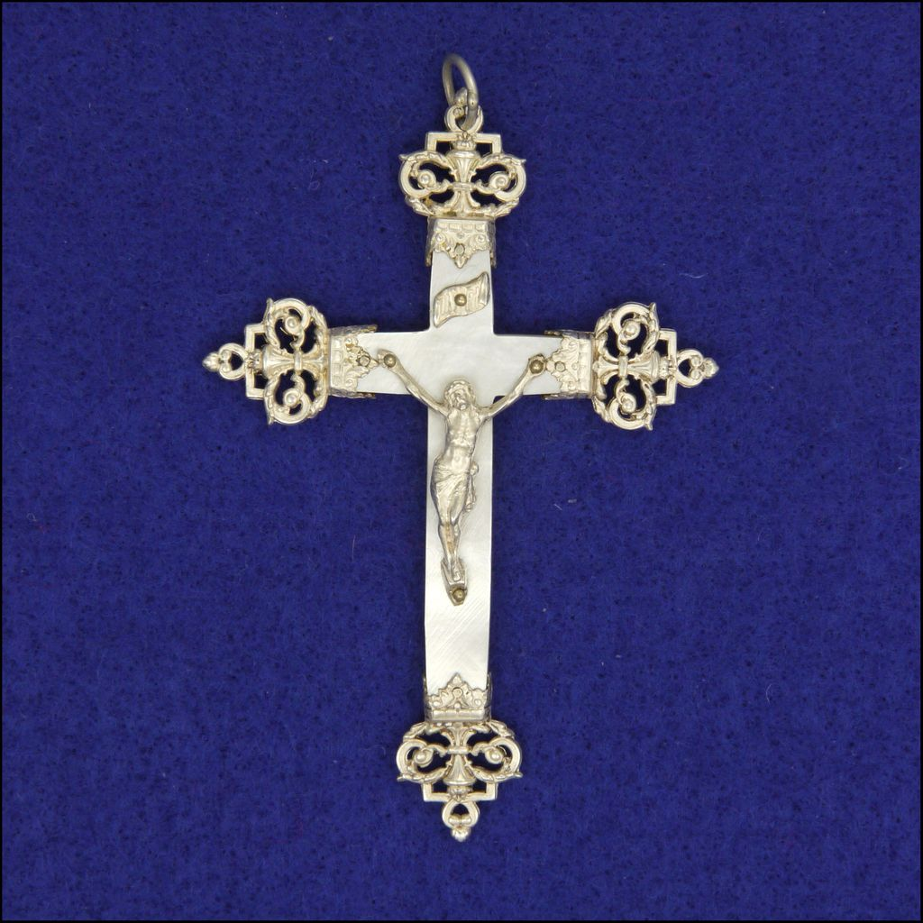 French Circa 1900 Mother of Pearl & Silver Crucifix