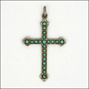 French Victorian Silver & Turquoise Bead Cross