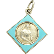 French Enamel & Silver Plated St Julia Medal or Charm