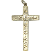 English Victorian Silver Engraved Ivy Cross Pendant