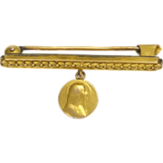 French Circa 1900 Gold Filled Bar Pin with Mary Drop -FIX