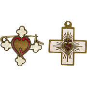 A  Pair of French Enamel Sacred Heart Items