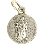 French Silver St Apollonia Tiny Medal - Patron Saint of Dentists