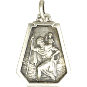 French Art Deco St Christopher Silver Medal Charm
