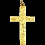 English Circa 1900 9K Gold Engraved Cross Pendant -FB&S