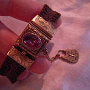 Early Victorian Foiled Back Amethyst and 14k Gold Hair work Bracelet