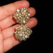 Robert's Original Vintage Cluster Crystal & Faux Pearl Earrings