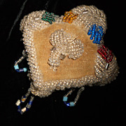 Antique Iroquois Indian Trade Glass Beaded Heart  Pin Cushion
