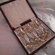 Antique French Silver Ornate Cherub Design Spoon Set - not monogrammed