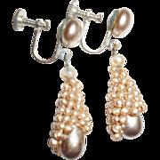 Art Deco French Looking Faux Pearl Drop Earrings