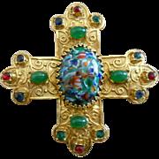 Accessocraft Gold Plated Regal Faux Gem Cross Pendant/Pin