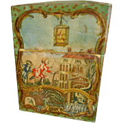 Antique French Childrens Lithograph & Hand Painted Card Box - Exceptionally Charming Imagery!