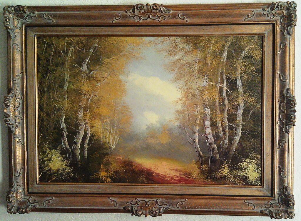 Vintage Schaeffer Original Oil on Canvas in Gold Gilded Frame
