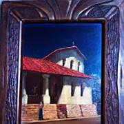 San Luis Obispo Mission oil on canvass board by Tess Razalle Carter
