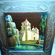 Santa Barbara Mission oil on canvass board by Tess Razalle Carter