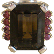 Lagos Caviar Smokey Quartz and Pink Tourmaline Ring Glacier Cocktail Collection