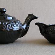 Jackfield Teapot & Cream Jug