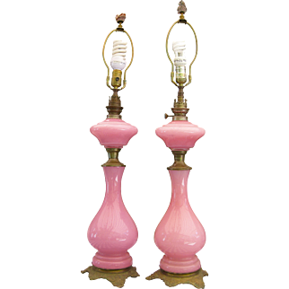 Pink Opaline  ~ HASAG VICTORIAN OIL LAMPS ~  Gilt Mounted 1863-1889