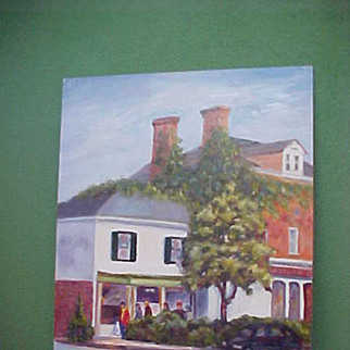 REDUCED Folksy Impressionistic Old Town Square Painting
