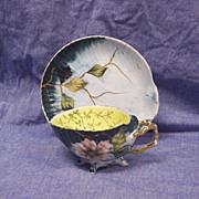 Rare Antique ES Erdmann Schlegelmilch  Scallop Shell Cup & Saucer Porcelain