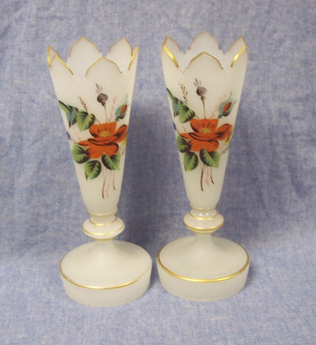 Pair of Vintage Hand Painted Bristol Glass Vases with Crown Tops