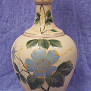 """Beautiful Victorian Opaline Glass Vase Hand Painted  Floral - 12""""  Tall"""