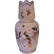 Hand Painted Bird Frosted Glass Vase Victorian
