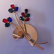 Coro Sterling Retro Vermeil Swirl Flower Pin