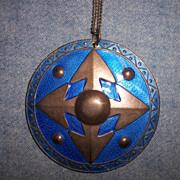 Wonderful Large Sterling & Blue Enamel Pendant Necklace