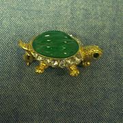 Carolee Turtle Jelly Belly & Rhinestone Brooch