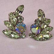 Vintage Weiss Pale Green Rhinestone & AB Earrings