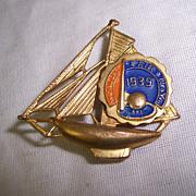 1939 New York World's Fair Sail Boat Brooch