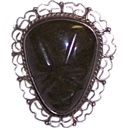 Mexican Sterling Silver Face Brooch